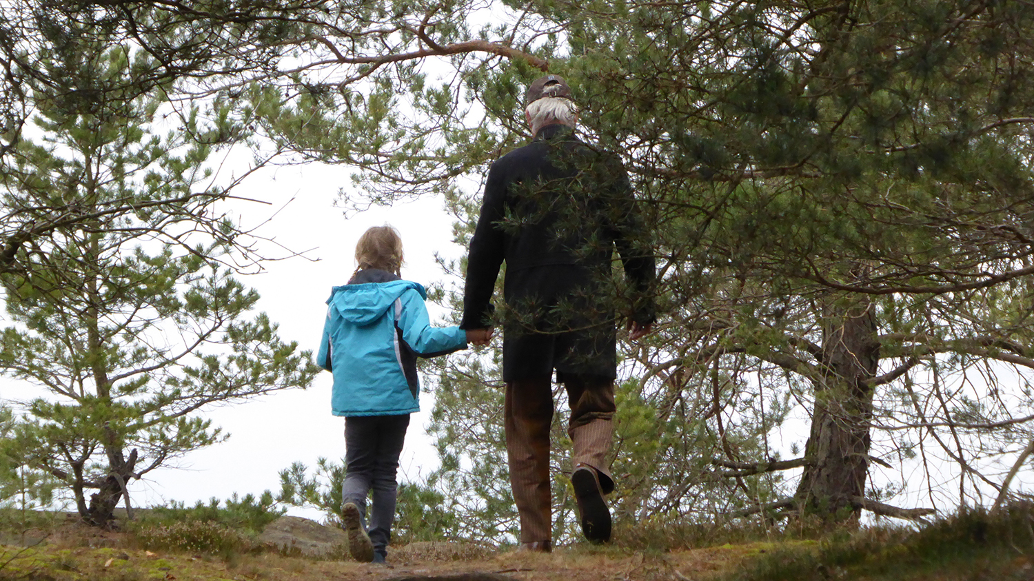 Grandfather and granddaughter walking together through a wooded path.